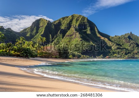 Tunnels beach, Kauai - stock photo