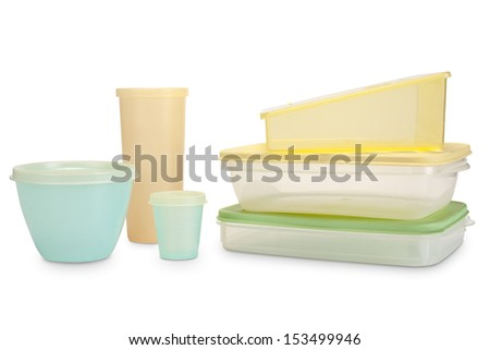 tupperware of different shapes and colors for storage - stock photo