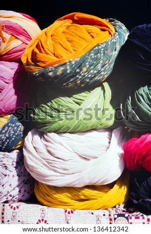 Turbans of many colors for sale at the market in India