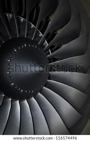 turbine blades jet engine aircraft civil photo - stock photo