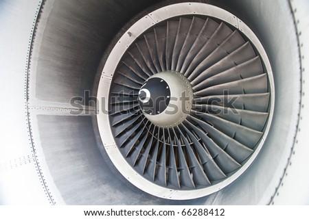 turbine blades of an aircraft jet engine - stock photo