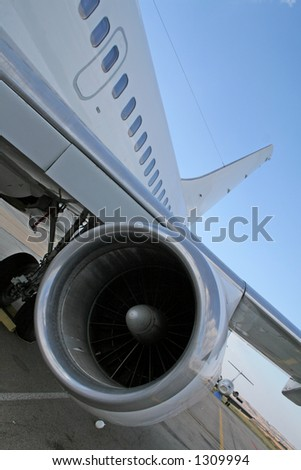Turbine engine of a plane - stock photo