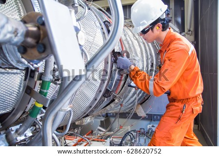 Turbine Engineer Wearing Personal Protective Equipment Stock Photo ...
