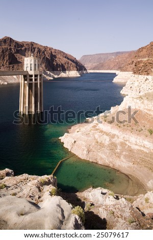 Turbine tower of the Hoover Dam - stock photo