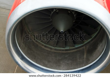 Turbo-jet engine of the plane close up