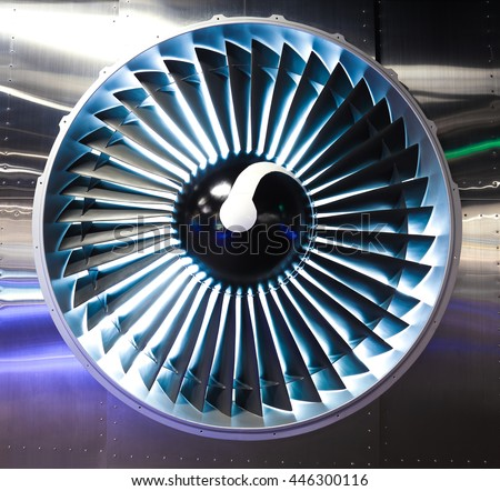 Turbo-jet engine of the plane on close up