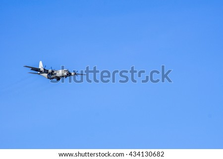 turboprop on  Blue sky in the background. - stock photo