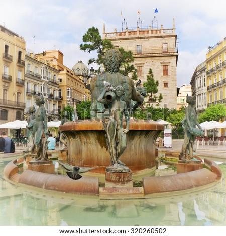 Turia Fountain in the Plaza de la Virgen Valencia Spain - stock photo