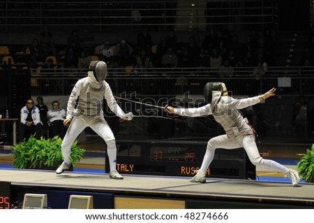 TURIN, FEB 7: Women Foil World Cup, team tournament final match Italy vs Russia on February 7, 2010 in Turin, Italy. - stock photo