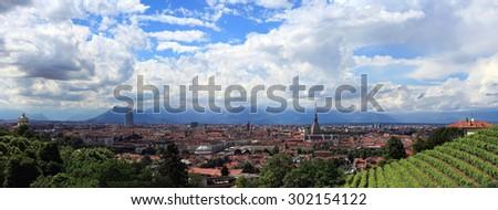 Turin from Villa della Regina - stock photo