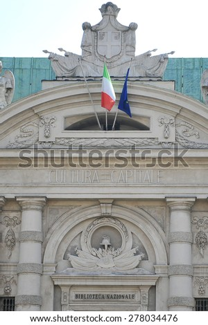 TURIN, ITALY - APRIL 18: national Library on piazza Carlo Alberto, on April 18, 2015 in Turin, Italy - stock photo