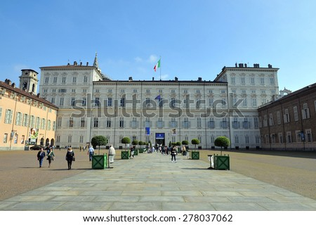 TURIN, ITALY - APRIL 18: Palazzo Reale, on April 18, 2015 in Turin, Italy - stock photo
