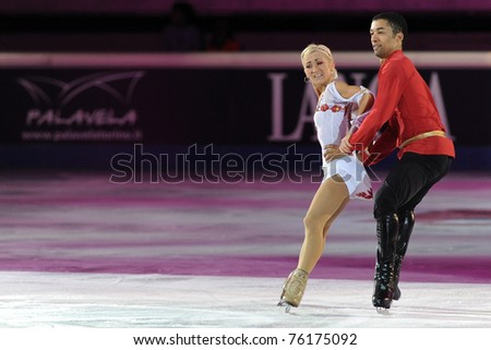 TURIN, ITALY - APRIL 09: Professional German skaters Aliona SAVCHENKO & Robin SZOLKOWY perform gala during the 2011 Gran gala del Ghiaccio on April 09, 2011 in Turin, Italy.