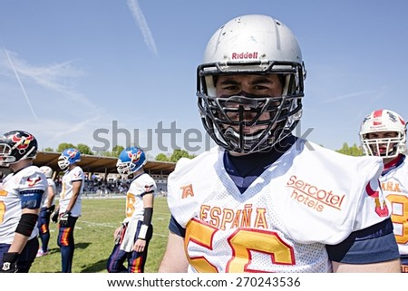 TURIN, ITALY - APRIL 12, 2015: TURIN, ITALY - APRIL 12, 2015: FERNANDEZ MILLA of Spain stands before match vs Italy U19 american football match, in the Nebiolo Stadium in Turin. - stock photo