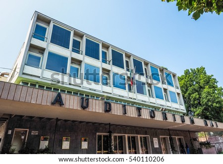 TURIN, ITALY - AUGUST 05, 2015: Auditorium RAI music hall designed by architect Carlo Mollino in 1958 dedicated to music director Arturo Toscanini (HDR)