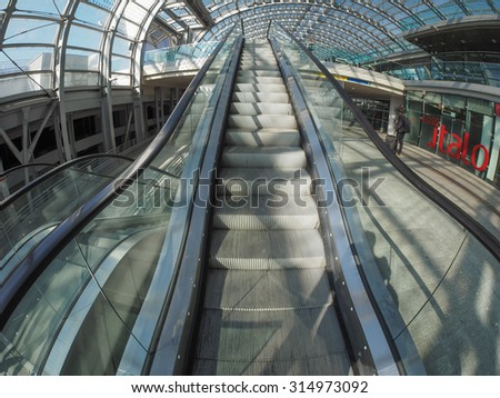 TURIN, ITALY - CIRCA SEPTEMBER, 2015: Travellers in Torino Porta Susa railway station which is the main central station seen with fisheye lens