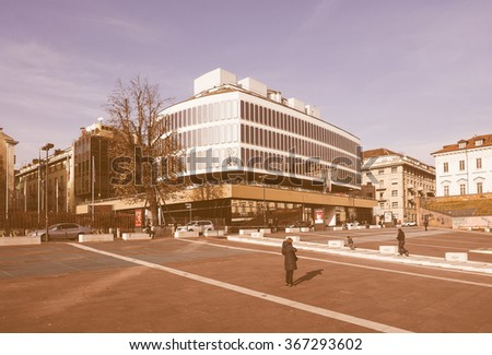 TURIN, ITALY - DECEMBER 16, 2015: Turin Commerce Chamber building designed by Italian architect Carlo Mollino vintage