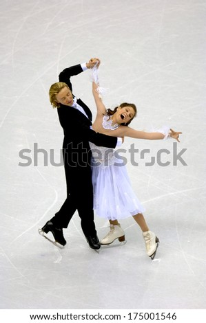 TURIN, ITALY-FEBRUARY 18, 2006: Melissa Gregory and Denis Pethukov competing during the Couple Figure Ice Skating during the Winter Olympic Games of Turin 2006.