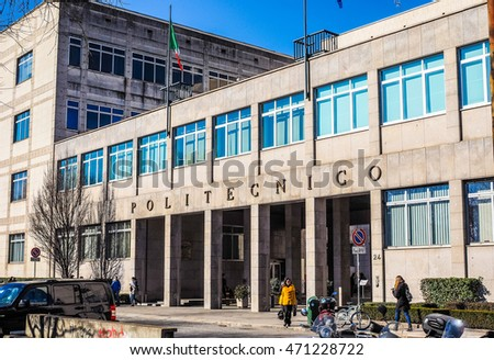 TURIN, ITALY - FEBRUARY 25, 2015: The Politecnico di Torino meaning Polytechnic University of Turin is the oldest public technical university in Italy, established in 1859 (HDR)