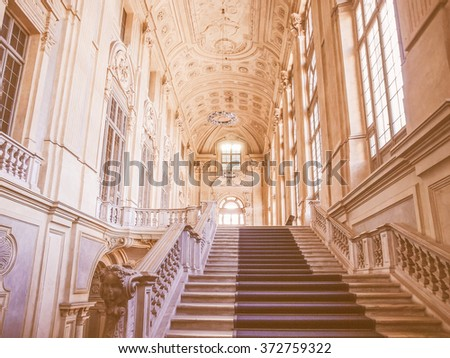 TURIN, ITALY - JANUARY 24, 2014: Monumental baroque stairway at Palazzo Madama (Royal palace) in Piazza Castello vintage