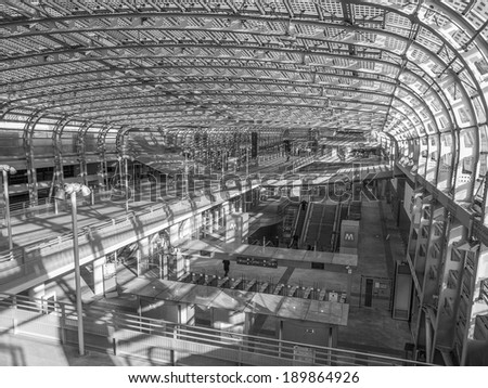TURIN, ITALY - JANUARY 24, 2014: The new Torino Porta Susa station is the main railway and subway station in town