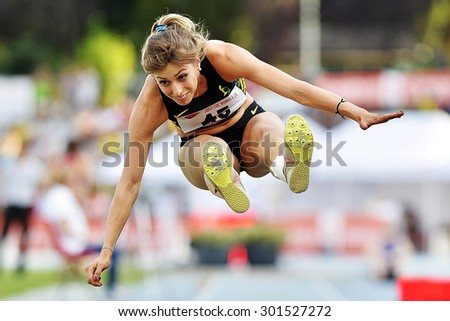 TURIN, ITALY - JULY 26: CUNEO Benedetta perform triple jump during Turin 2015 Italian Athletics Championships at the Primo Nebiolo Stadium on July 26, 2015 in Turin, Italy - stock photo