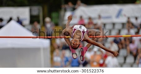 TURIN, ITALY - JULY 25: Furlani Erika perform high jump during Turin 2015 Italian Athletics Championships at the Primo Nebiolo Stadium on July 25, 2015 in Turin, Italy. - stock photo