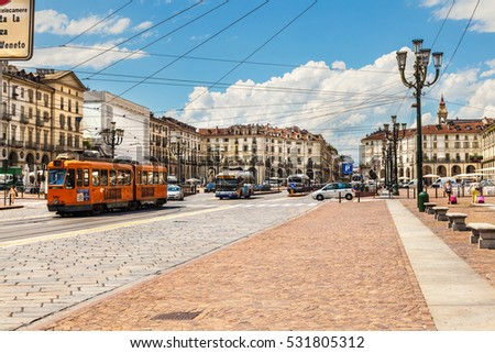 Turin, Italy - July 13, 2016: Piazza Vittorio Emanuele II is the largest square in central Turin. Italy