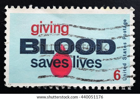 TURIN, ITALY - JUNE 19, 2016: A stamp printed in USA promoting the importance of blood donation, circa 1971