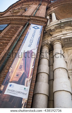 TURIN, ITALY - JUNE 28, 2015.Detail of  Palazzo Carignano, historical building in Baroque architecture style in the center  of Turin, Italy - stock photo