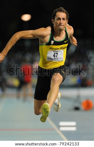 TURIN, ITALY - JUNE 10: Donato Fabrizio (ITA) performs triple jump during the 2011 Memorial Primo Nebiolo track and field athletics international meeting, on June 10, 2011 in Turin, Italy.