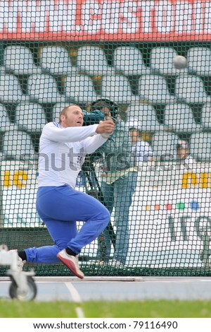 TURIN, ITALY - JUNE 10: Figere Nicolas (FRA) performs hammer throw during the 2011 Memorial Primo Nebiolo track and field athletics international meeting, on June 10, 2011 in Turin, Italy.