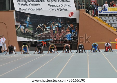 TURIN, ITALY - JUNE 12: Frater Michael at 100m sprint final start of the 2010 Memorial Primo Nebiolo track and field athletics international meeting, on June 12, 2010 in Turin, Italy.