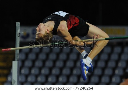 TURIN, ITALY - JUNE 10: Mudrov Sergey (RUS) performs high jump during the 2011 Memorial Primo Nebiolo track and field athletics international meeting, on June 10, 2011 in Turin, Italy.