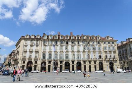 TURIN, ITALY - JUNE 17, 2016: Piazza Castello, central baroque square in Turin, Italy - stock photo