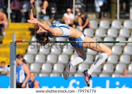 TURIN, ITALY - JUNE 25: Raffaella Lamera performs a high jump during the 2011 Summer Track and Field Italian Championship meeting on June 25, 2011 in Turin, Italy.