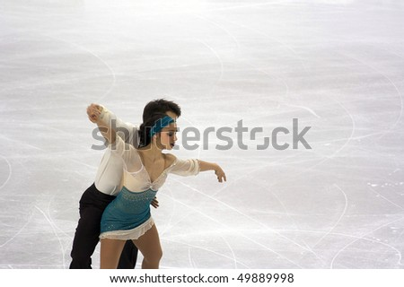 TURIN, ITALY - MARCH 24: Professional Italian skaters Stefania BERTON and Ondrej HOTAREK perform pairs free skating during the 2010 World Figure Skating Championship on March 24, 2010 in Turin, Italy.