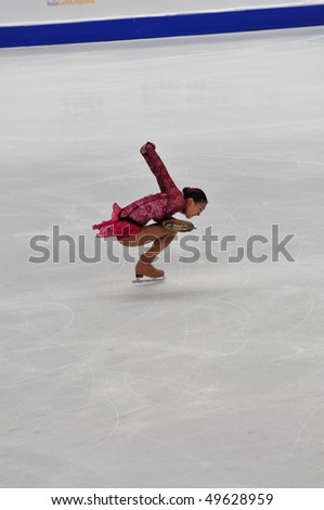TURIN, ITALY - MARCH 26: Professional Japanese skater Mao ASADA performs short program during the 2010 World Figure Skating Championship on March 26, 2010 in Turin, Italy.
