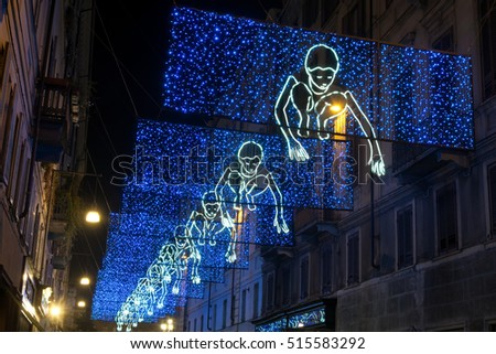 TURIN, ITALY - NOVEMBER 3, 2015: Artistic lights installation in Accademia delle Scienze street