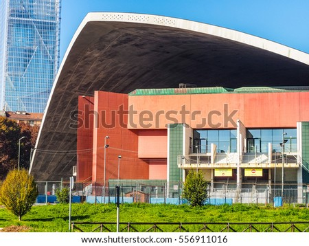TURIN, ITALY - NOVEMBER 07, 2015: Palavela aka as Palazzo delle Mostre and Palazzo a Vela is an arena on the bank of the River Po built for the 1961 Italia 61 exhibition (HDR)