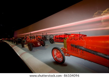 """TURIN, ITALY - OCTOBER 4: Vintage race cars. New """"Museum of cars """" on"""