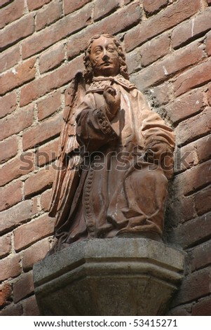 Turin, Italy, park of Valentino, particular of an angel baroque in the medieval village
