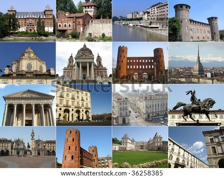 Turin landmarks collage including ancient and baroque architecture - all pics in the collage are mine - stock photo