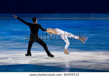 TURIN-OCTOBER  8: Aljona Savchenko and Robin Szolkowy of Russia perform in the Gran Galà of Ice event in the Palavela, 2011 on October 8, in Turin, Italy.