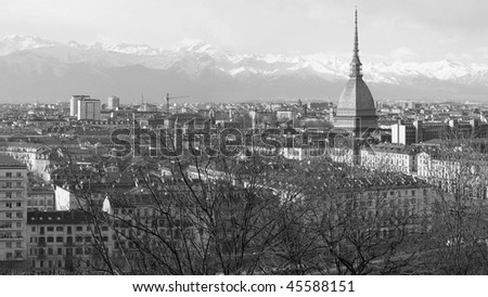Turin panorama seen from the hill, with Mole Antonelliana (famous ugly wedding cake architecture) - (16:9 black and white)