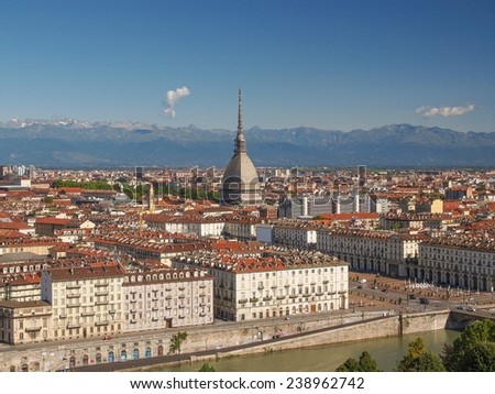 Turin skyline panorama seen from the hills surrounding the city - stock photo