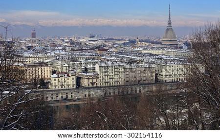 Turin under snow - stock photo