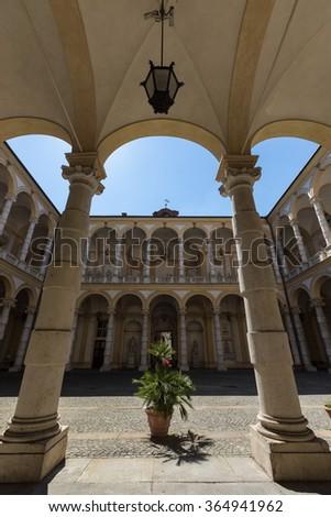 turin university, historical main building - stock photo