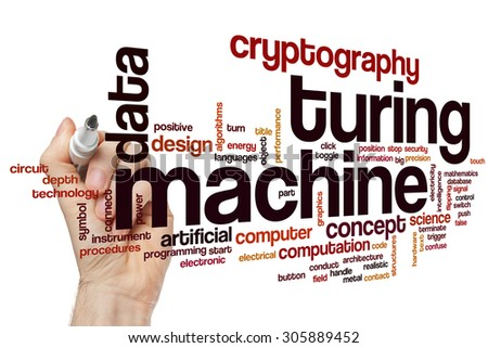 Turing machine word cloud concept with data cryptography related tags - stock photo