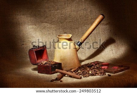 Turk and coffee beans - stock photo